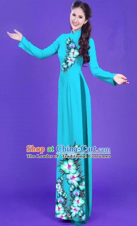 Top Grade Asian Vietnamese Costumes Classical Jing Nationality Long Printing Flowers Cheongsam, Vietnam National Vietnamese Bride Traditional Princess Sky Blue Ao Dai Dress