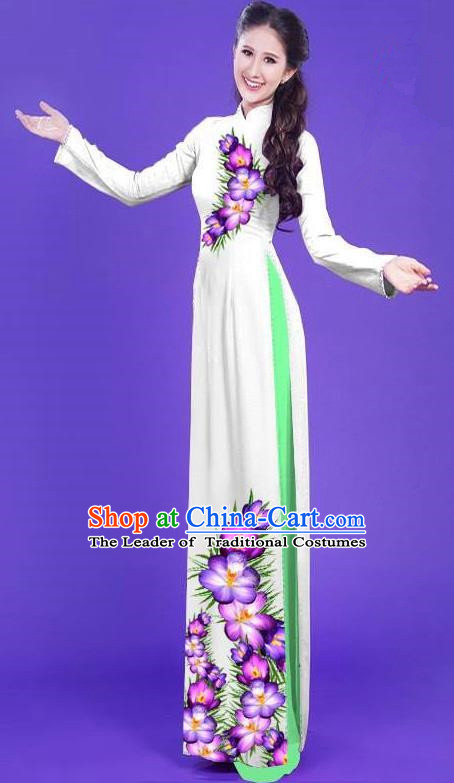 Top Grade Asian Vietnamese Costumes Classical Jing Nationality Long Printing Flowers Cheongsam, Vietnam National Vietnamese Bride Traditional Princess White Ao Dai Dress