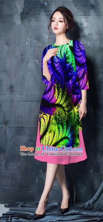 Top Grade Asian Vietnamese Costumes Classical Jing Nationality Printing Short Cheongsam, Vietnam National Vietnamese Bride Traditional Princess Royalblue Ao Dai Dress
