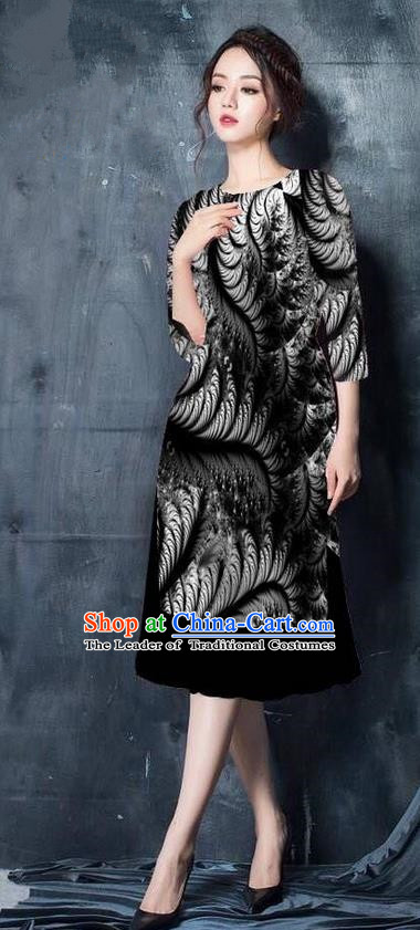 Top Grade Asian Vietnamese Costumes Classical Jing Nationality Printing Short Cheongsam, Vietnam National Vietnamese Bride Traditional Princess Black Ao Dai Dress
