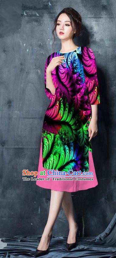 Top Grade Asian Vietnamese Costumes Classical Jing Nationality Printing Short Cheongsam, Vietnam National Vietnamese Bride Traditional Princess Rosy Ao Dai Dress