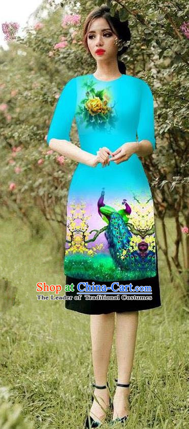 Top Grade Asian Vietnamese Costumes Classical Jing Nationality Peacock Pattern Short Cheongsam, Vietnam National Clothing Bride Traditional Blue Ao Dai Dress