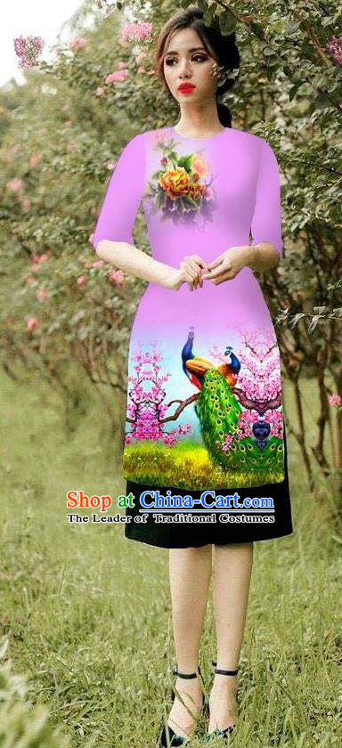Top Grade Asian Vietnamese Costumes Classical Jing Nationality Peacock Pattern Short Cheongsam, Vietnam National Clothing Bride Traditional Pink Ao Dai Dress