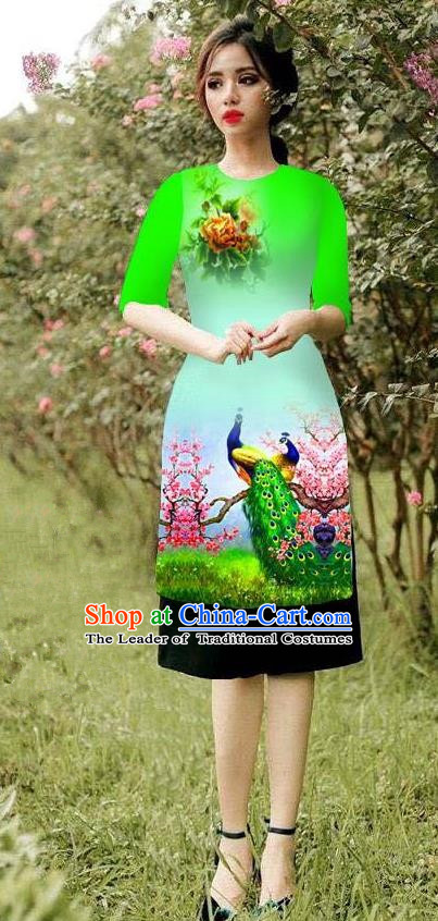 Top Grade Asian Vietnamese Costumes Classical Jing Nationality Peacock Pattern Short Cheongsam, Vietnam National Clothing Bride Traditional Green Ao Dai Dress