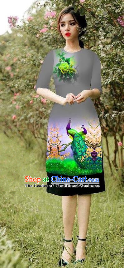 Top Grade Asian Vietnamese Costumes Classical Jing Nationality Peacock Pattern Short Cheongsam, Vietnam National Clothing Bride Traditional Grey Ao Dai Dress