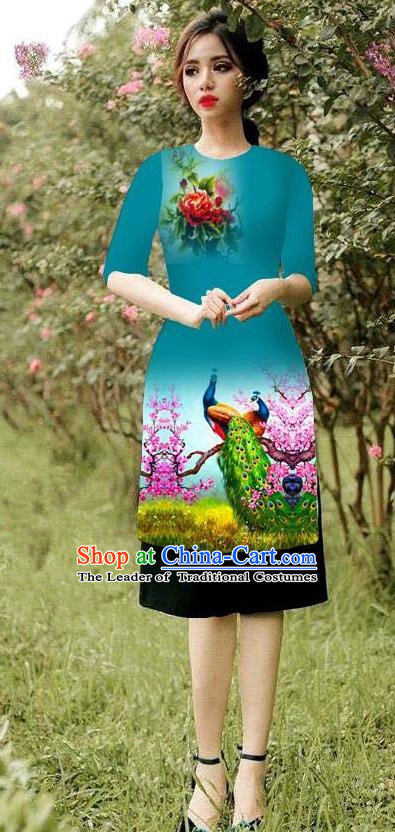 Top Grade Asian Vietnamese Costumes Classical Jing Nationality Peacock Pattern Short Cheongsam, Vietnam National Clothing Bride Traditional Peacock Green Ao Dai Dress