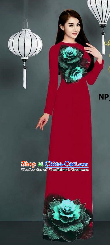 Top Grade Asian Vietnamese Costumes Classical Jing Nationality Printing Long Cheongsam, Vietnam National Clothing Bride Traditional Wine Red Ao Dai Dress