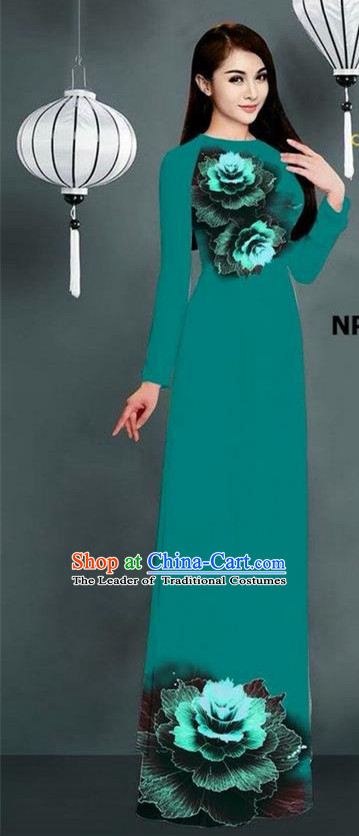 Top Grade Asian Vietnamese Costumes Classical Jing Nationality Printing Long Cheongsam, Vietnam National Clothing Bride Traditional Peacock Green Ao Dai Dress