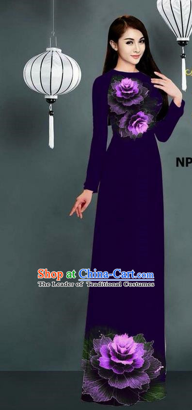 Top Grade Asian Vietnamese Costumes Classical Jing Nationality Printing Long Cheongsam, Vietnam National Clothing Bride Traditional Deep Purple Ao Dai Dress