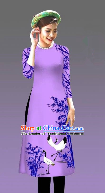 Top Grade Asian Vietnamese Costumes Classical Jing Nationality Crane Pattern Short Cheongsam, Vietnam National Clothing Bride Traditional Lilac Ao Dai Dress