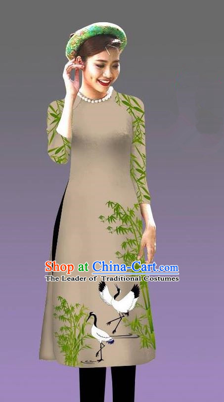 Top Grade Asian Vietnamese Costumes Classical Jing Nationality Crane Pattern Short Cheongsam, Vietnam National Clothing Bride Traditional Grey Ao Dai Dress