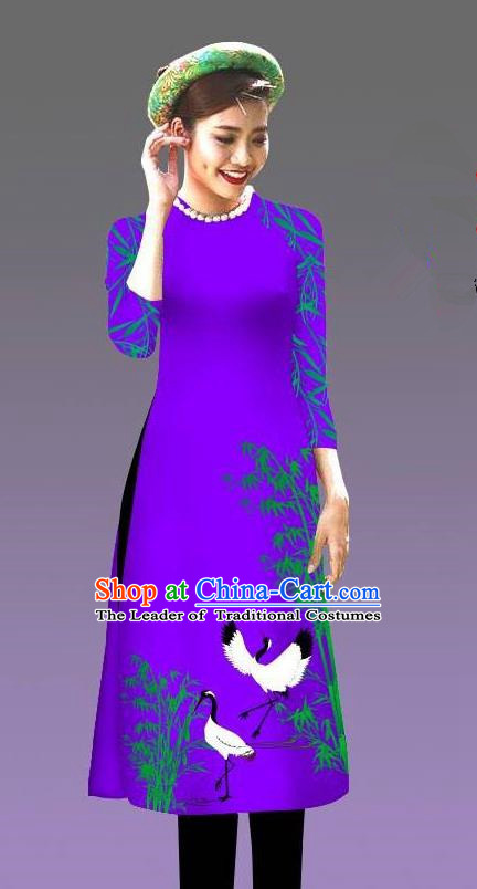 Top Grade Asian Vietnamese Costumes Classical Jing Nationality Crane Pattern Short Cheongsam, Vietnam National Clothing Bride Traditional Purple Ao Dai Dress