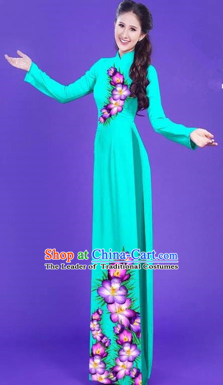 Top Grade Asian Vietnamese Costumes Classical Jing Nationality Long Printing Flowers Cheongsam, Vietnam National Vietnamese Bride Traditional Princess Blue Ao Dai Dress