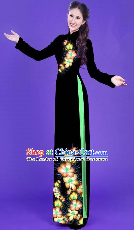 Top Grade Asian Vietnamese Costumes Classical Jing Nationality Long Printing Flowers Cheongsam, Vietnam National Vietnamese Bride Traditional Princess Black Ao Dai Dress