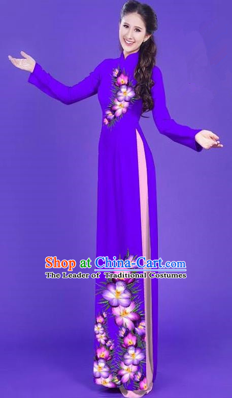 Top Grade Asian Vietnamese Costumes Classical Jing Nationality Long Printing Flowers Cheongsam, Vietnam National Vietnamese Bride Traditional Princess Deep Purple Ao Dai Dress