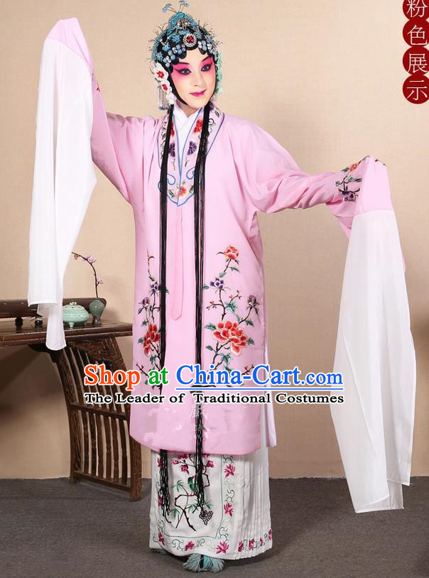 Traditional Chinese Beijing Opera Huangmei Opera Female Pink Clothing and Headwear Complete Set, China Peking Opera Diva Role Hua Tan Costume Embroidered Opera Costumes