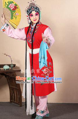 Traditional Chinese Beijing Opera Shaoxing Opera Young Female Red Vest Clothing Complete Set, China Peking Opera Diva Role Hua Tan Costume Embroidered Opera Costumes