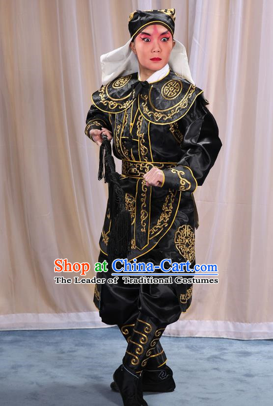 Traditional Chinese Beijing Opera Takefu Black Clothing and Shoes Complete Set, China Peking Opera Martial Role Costume Embroidered Opera Costumes