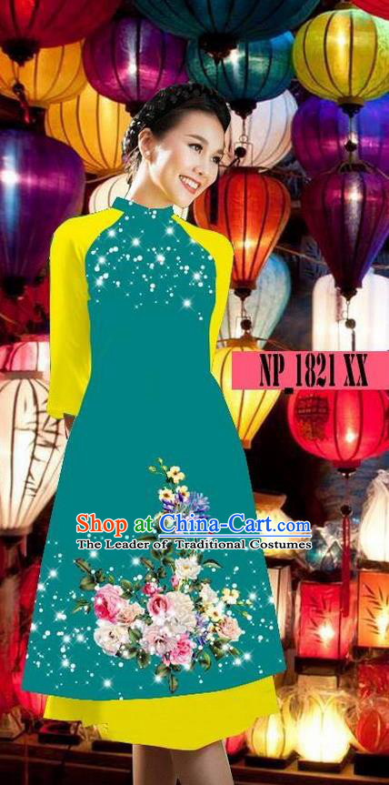 Top Grade Asian Vietnamese Costumes Classical Jing Nationality Green Cheongsam, Vietnam National Clothing Vietnamese Bride Traditional Printing Ao Dai Dress