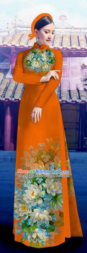 Top Grade Asian Vietnamese Costumes Classical Jing Nationality Long Orange Cheongsam, Vietnam National Clothing Vietnamese Bride Traditional Printing Flowers Ao Dai Dress