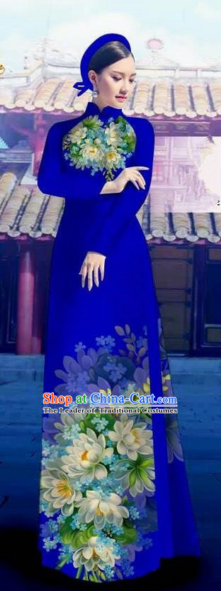 Top Grade Asian Vietnamese Costumes Classical Jing Nationality Long Royalblue Cheongsam, Vietnam National Clothing Vietnamese Bride Traditional Printing Flowers Ao Dai Dress