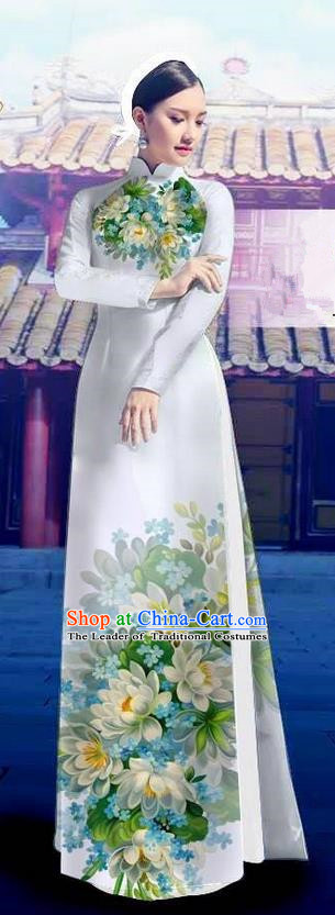 Top Grade Asian Vietnamese Costumes Classical Jing Nationality Long White Cheongsam, Vietnam National Clothing Vietnamese Bride Traditional Printing Flowers Ao Dai Dress