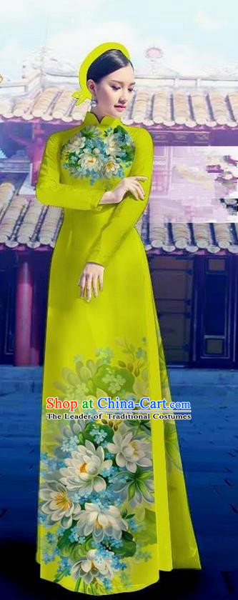 Top Grade Asian Vietnamese Costumes Classical Jing Nationality Long Light Green Cheongsam, Vietnam National Clothing Vietnamese Bride Traditional Printing Flowers Ao Dai Dress
