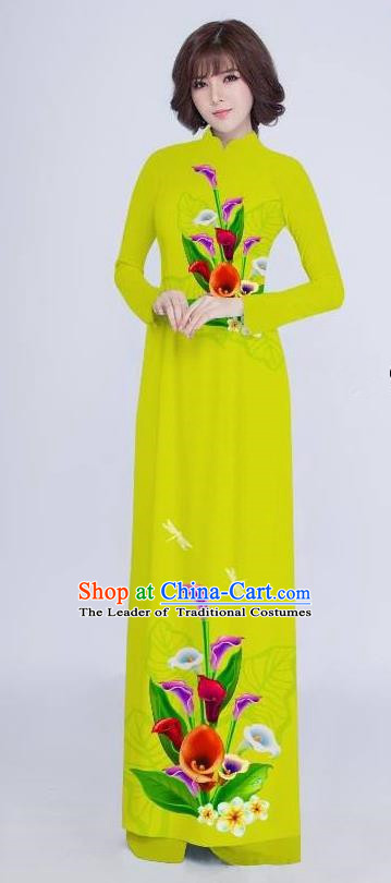 Top Grade Asian Vietnamese Costumes Classical Jing Nationality Long Cheongsam, Vietnam National Clothing Vietnamese Bride Traditional Printing Flowers Green Ao Dai Dress