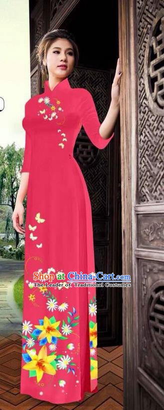 Top Grade Asian Vietnamese Clothing Classical Jing Nationality Long Cheongsam, Vietnam National Bride Traditional Printing Flowers Red Ao Dai Dress for Women