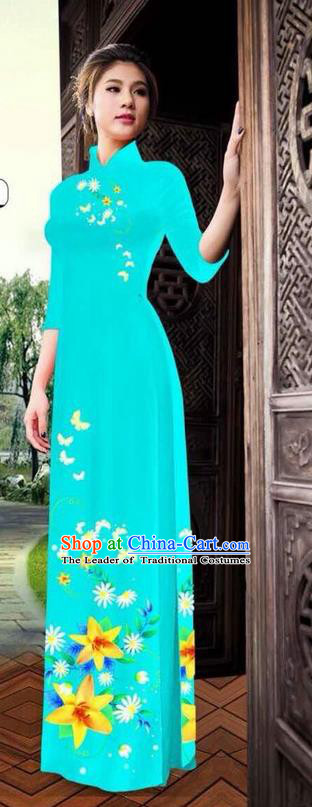 Top Grade Asian Vietnamese Clothing Classical Jing Nationality Long Cheongsam, Vietnam National Bride Traditional Printing Flowers Blue Ao Dai Dress for Women