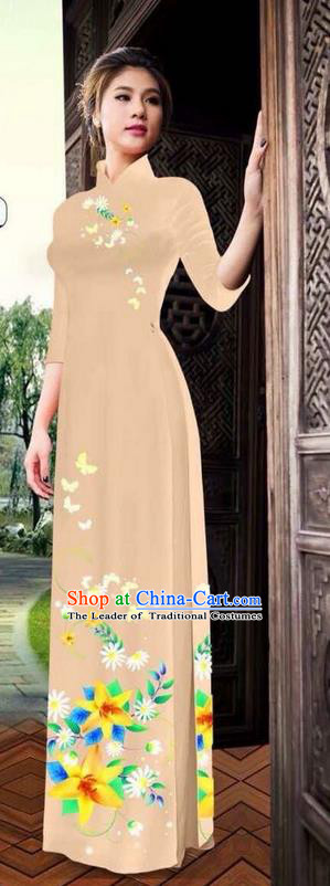 Top Grade Asian Vietnamese Clothing Classical Jing Nationality Long Cheongsam, Vietnam National Bride Traditional Printing Flowers Beige Ao Dai Dress for Women