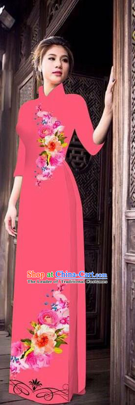 Top Grade Asian Vietnamese Costumes Classical Jing Nationality Long Cheongsam, Vietnam National Clothing Vietnamese Bride Traditional Printing Pink Ao Dai Dress