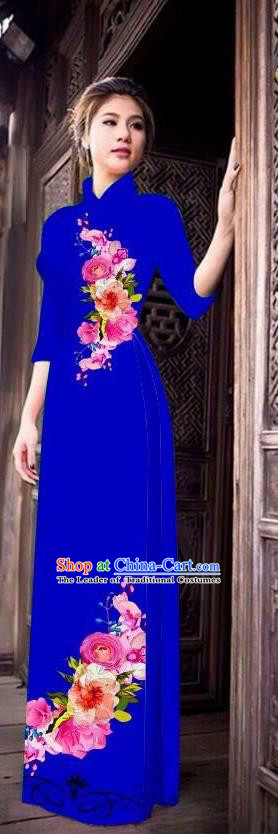 Top Grade Asian Vietnamese Costumes Classical Jing Nationality Long Cheongsam, Vietnam National Clothing Vietnamese Bride Traditional Printing Royalblue Ao Dai Dress