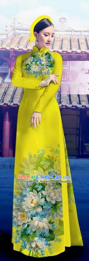 Top Grade Asian Vietnamese Costumes Classical Jing Nationality Long Yellow Cheongsam, Vietnam National Clothing Vietnamese Bride Traditional Printing Flowers Ao Dai Dress