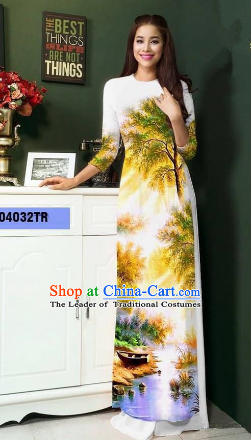 Top Grade Asian Vietnamese Clothing Classical Jing Nationality Handmade Cheongsam, Vietnam National Bride Traditional Printing White Ao Dai Dress for Women