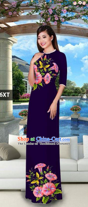 Traditional Top Grade Asian Vietnamese Jing Nationality Classical Ao Dai Dress, Vietnam National Bride Printing Deep Purple Cheongsam Costumes for Women