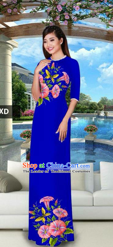 Traditional Top Grade Asian Vietnamese Jing Nationality Classical Ao Dai Dress, Vietnam National Bride Printing Royalblue Cheongsam Costumes for Women