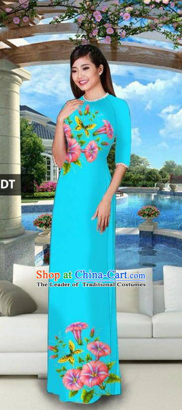 Traditional Top Grade Asian Vietnamese Jing Nationality Classical Ao Dai Dress, Vietnam National Bride Printing Blue Cheongsam Costumes for Women