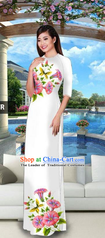 Traditional Top Grade Asian Vietnamese Jing Nationality Classical Ao Dai Dress, Vietnam National Bride Printing White Cheongsam Costumes for Women