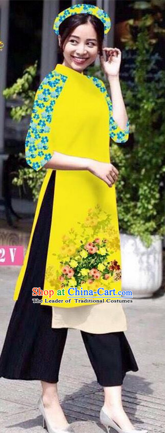 Traditional Top Grade Asian Vietnamese Jing Nationality Classical Ao Dai Dress, Vietnam National Bride Printing Peacock Yellow Short Cheongsam Costumes for Women