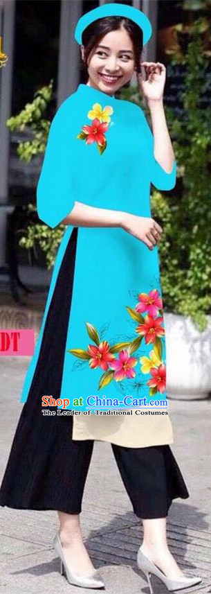 Traditional Top Grade Asian Vietnamese Jing Nationality Ha Festival Ao Dai Dress, Vietnam National Bride Printing Blue Short Cheongsam Costumes for Women