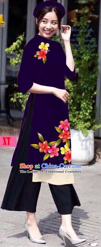 Traditional Top Grade Asian Vietnamese Jing Nationality Ha Festival Ao Dai Dress, Vietnam National Bride Printing Deep Purple Short Cheongsam Costumes for Women