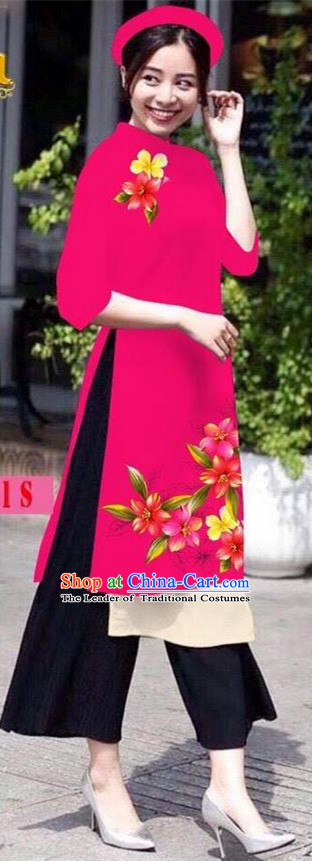 Traditional Top Grade Asian Vietnamese Jing Nationality Ha Festival Ao Dai Dress, Vietnam National Bride Printing Rosy Short Cheongsam Costumes for Women