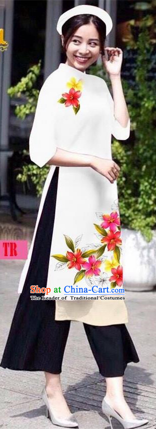 Traditional Top Grade Asian Vietnamese Jing Nationality Ha Festival Ao Dai Dress, Vietnam National Bride Printing White Short Cheongsam Costumes for Women