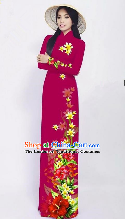 Traditional Top Grade Asian Vietnamese Jing Nationality Ha Festival Long Ao Dai Dress, Vietnam National Bride Printing Red Cheongsam Costumes for Women