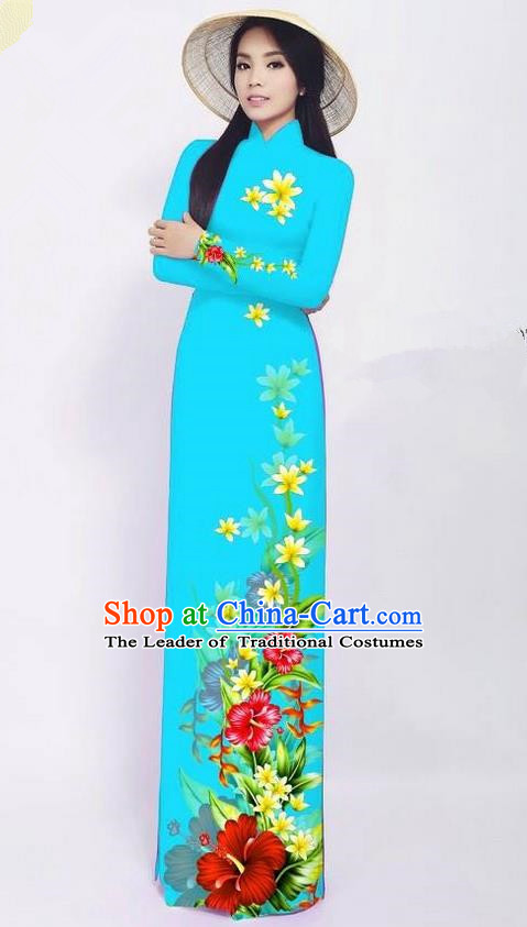 Traditional Top Grade Asian Vietnamese Jing Nationality Ha Festival Long Ao Dai Dress, Vietnam National Bride Printing Blue Cheongsam Costumes for Women