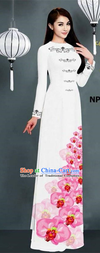 Traditional Top Grade Asian Vietnamese Jing Nationality Ha Festival Long Ao Dai Dress, Vietnam National Bride Printing White Stand Collar Cheongsam Costumes for Women