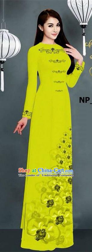 Traditional Top Grade Asian Vietnamese Jing Nationality Ha Festival Long Ao Dai Dress, Vietnam National Bride Printing Green Stand Collar Cheongsam Costumes for Women