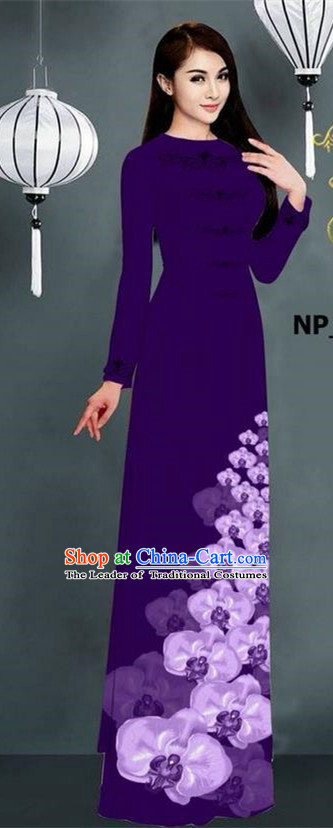 Traditional Top Grade Asian Vietnamese Jing Nationality Ha Festival Long Ao Dai Dress, Vietnam National Bride Printing Purple Stand Collar Cheongsam Costumes for Women