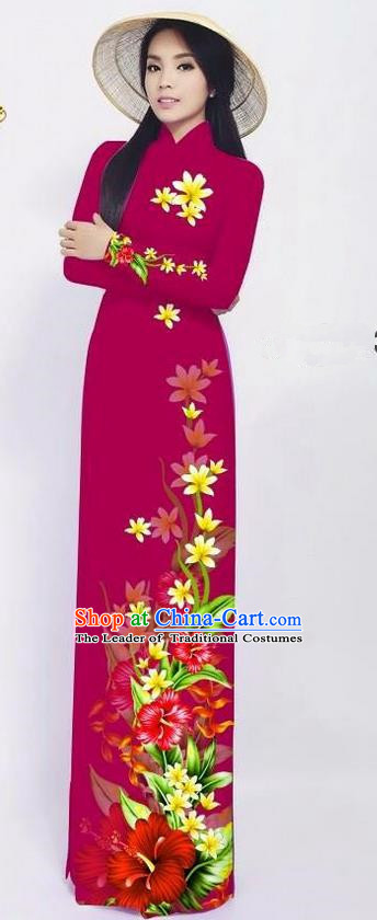 Traditional Top Grade Asian Vietnamese Ha Festival Long Ao Dai Dress and Pants, Vietnam National Jing Nationality Printing Red Cheongsam Costumes for Women